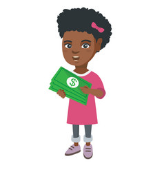 african-american girl holding money in hands vector image vector image