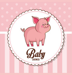 Baby shower card invitation cute piggy vector