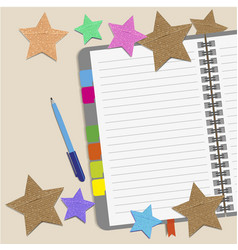 Blank paper with paper stars and notes on the desk vector
