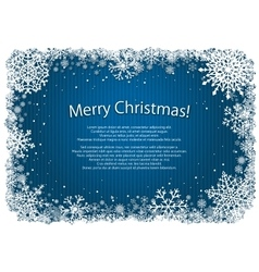 Blue Christmas background with frame of snowflakes vector image