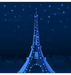 Blue cutout paper night eiffel tower vector