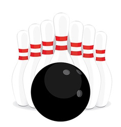 Bowling pins and black ball vector image vector image