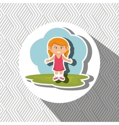 cartoon girl meadow green vector image vector image