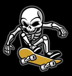 Cartoon of skull ride a skateboard vector