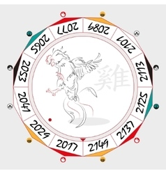 Chinese zodiac rooster vector