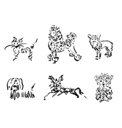 Dogs collection only contour vector image