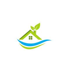 Eco green house logo vector