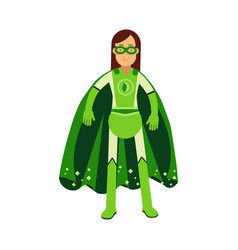 Ecological superhero woman in green costume and vector