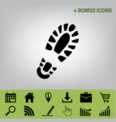 Footprint boot sign black icon at gray vector