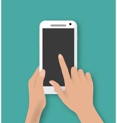 Hand touching screen of white phone vector