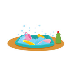 Kitchen sink with soap water dishes dishwashing vector