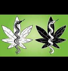 medical cannabis leaf snake symbol design vector image vector image