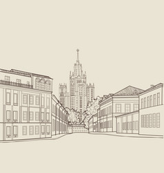 moscow city street famous building travel russia vector image vector image