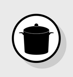 Pan sign flat black icon in white circle vector