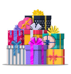pile of gift boxes isolated on white vector image vector image