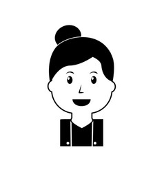 portrait happy woman female cartoon vector image