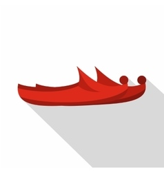 Red turkish shoes icon flat style vector