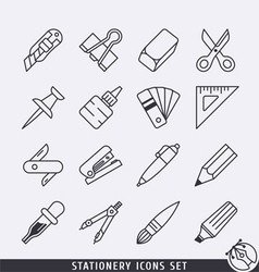 Stationery icons set BW vector image vector image