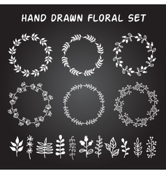 Vintage set of hand drawn rustic wreaths and vector