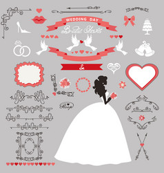 wedding bridal shower decor set bride invitation vector image