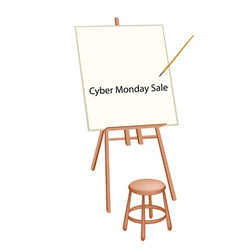 Wooden Artist Easel With Word Cyber Monday Sale vector image