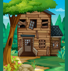 wooden house with bad condition in jungle vector image vector image