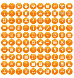 100 company icons set orange vector