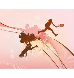 Red stains and blots tennis player vector