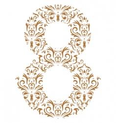 floral number 8 vector image