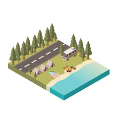 camp isometric design vector image
