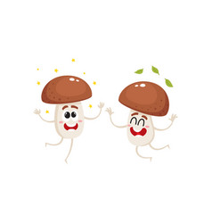 Two funny porcini mushroom characters jumping from vector