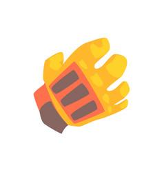 Orange goalkeeper glove cartoon vector