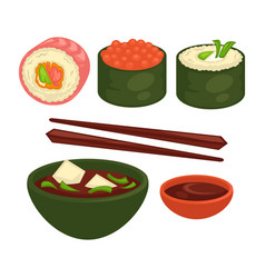 Chinese and japanese delicious exotic food vector