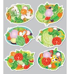 Vegetables sticker vector image