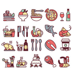 set of flat icons and elements with food and vector image