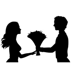 Silhouettes of man and woman vector