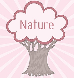 Background with cute retro tree vector