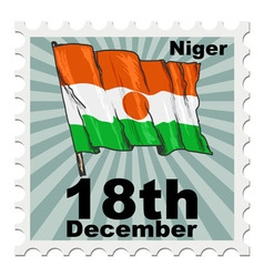 Post stamp of national day of niger vector