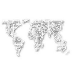Stylized cutout world map vector