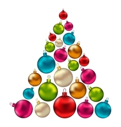 Christmas abstract tree made in colorful balls vector