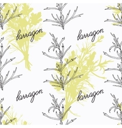 Hand drawn tarragon branch and handwritten sign vector