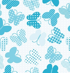 Blue patterned butterflies seamless vector image