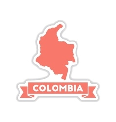 Paper sticker on white background columbia card vector