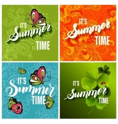 Set of colorful bright lettering summer vector