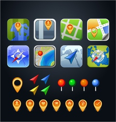 Set of gps icons with pins and arrows vector