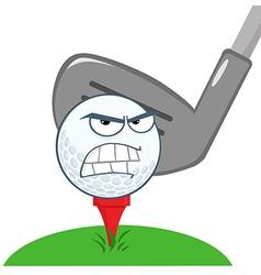 Angry Golf Ball Over Tee vector image