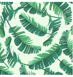 banana palm leaves seamless tropic pattern vector image vector image