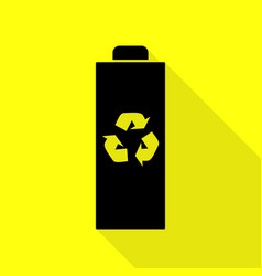 battery recycle sign black icon with vector image vector image