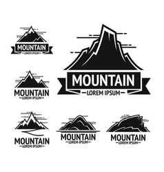 Black rocky mountains emblems with clear sky above vector