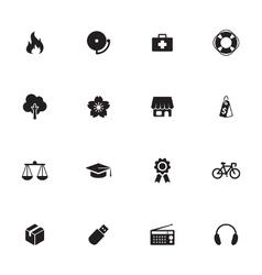 Black simple flat icon set 6 vector